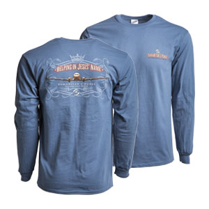 "S—""Helping in Jesus' Name"" Long-sleeved T-Shirt – Blue"