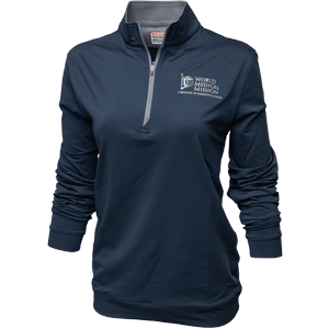 Small NAVY ZIP PULLOVER—WOMEN'S